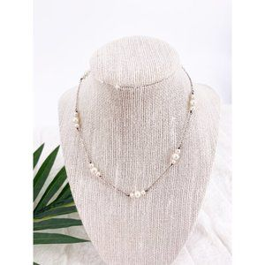 Sterling Silver Plate Triple Pearl Necklace